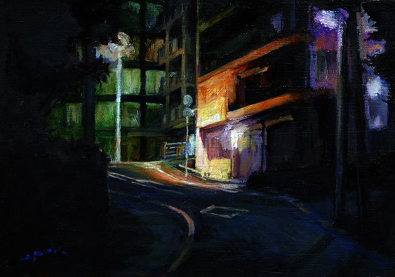 way to my home in the night  夜の帰り道 oil painting  油彩サムホール