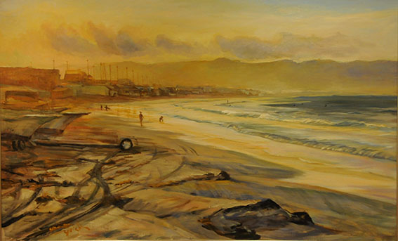 The Yuigahama beach in the morning   朝の由比ヶ浜 oil painting  油彩M50号