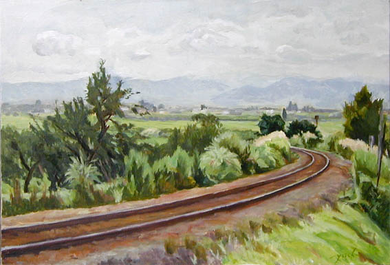 a railway of the Aizu Tadami Line  会津只見線 oil painting  油彩M20号