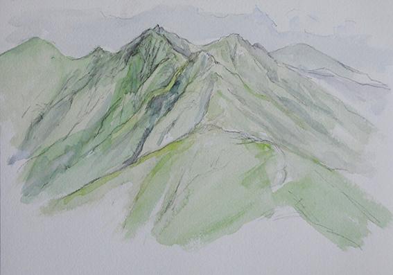 Mt.Gongen   権現岳 watercolor   水彩F4号