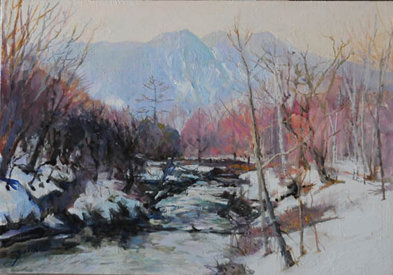 Nikko in the winter     戦場ヶ原湯川の流れ oil painting   油彩サムホール