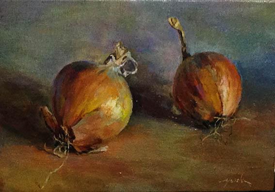onions  玉ねぎ oil painting   油彩サムホール