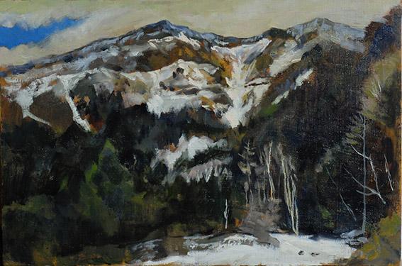 Mt.Iwodake in January   1月の硫黄岳 oil painting   油彩P6号 本沢温泉に泊まり、少し登ったところで描きました。
