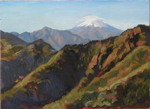 Mt.Fuji view from Gozeniwa     御前岩からの富士 oil painting  油彩F4号