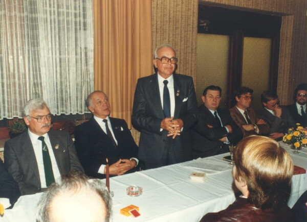 Zum Empfang waren auch zahlreiche Ehrengäste erschienen:v. l. Günter Krüger, Herbert Trautmann, Walter Sturm, Heinrich Warnecke, Gero Wangerin, Karl-Heinz Gose und Karl-Heinz Schrader