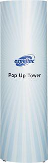 Der Pop Up Magnetic Tower ermöglicht eine 360° Werbefläche.