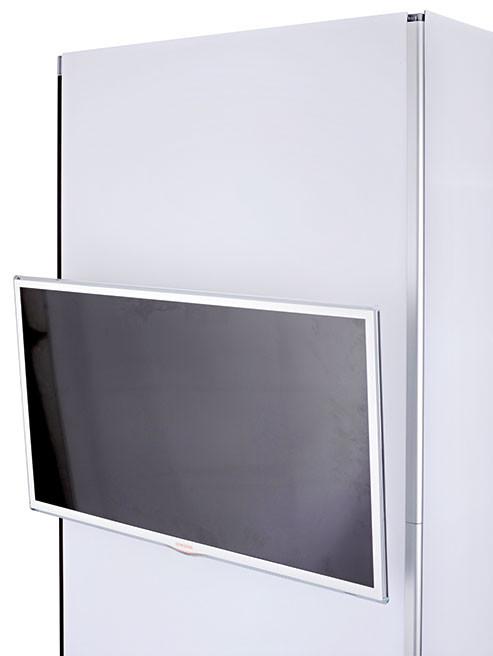 Mit dem Monitorhalter können Sie Ihre Produktvideos am System präsentieren. Monitore können ein Gewicht bis zu 8 kg haben.