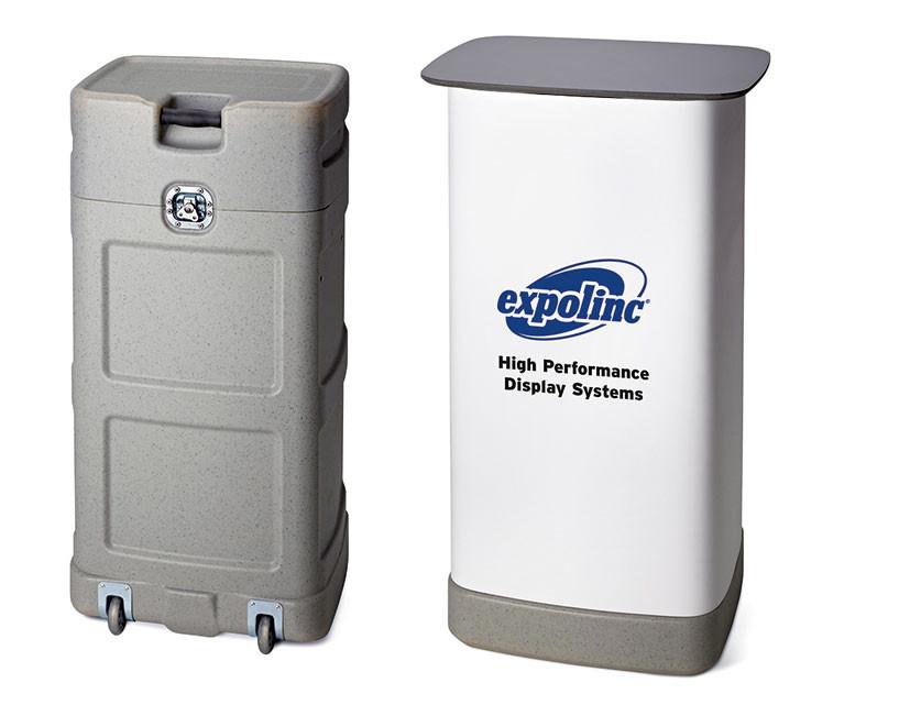 Das Standard Case beinhaltet ein komplettes Pop Up System und verwandelt sich schnell zu einer Theke.