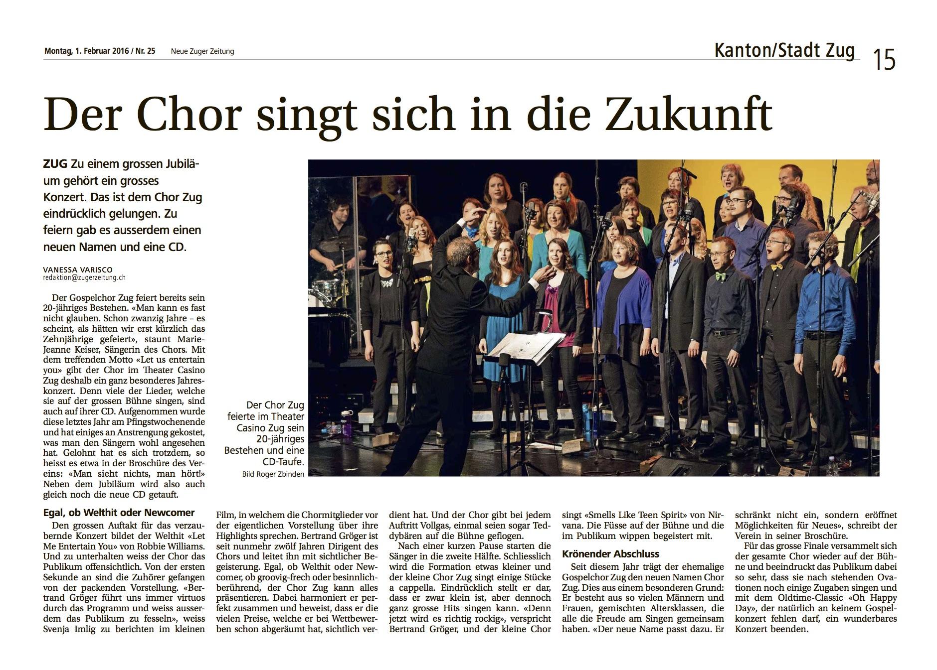 Konzertkritik der Neuen Zuger Zeitung vom 1.2.2016