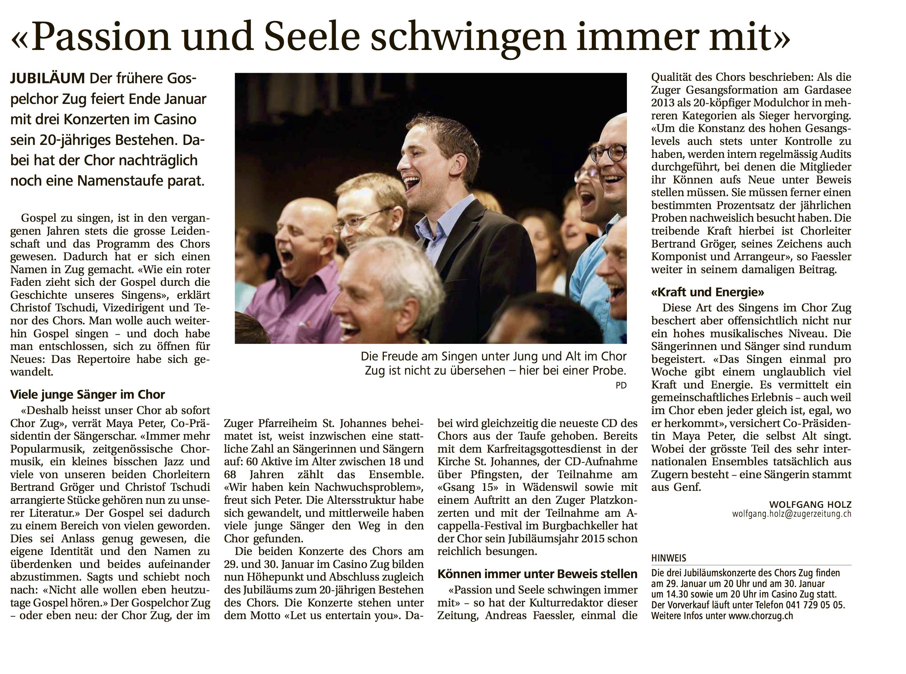 Neue Zuger Zeitung am 7.1.2016