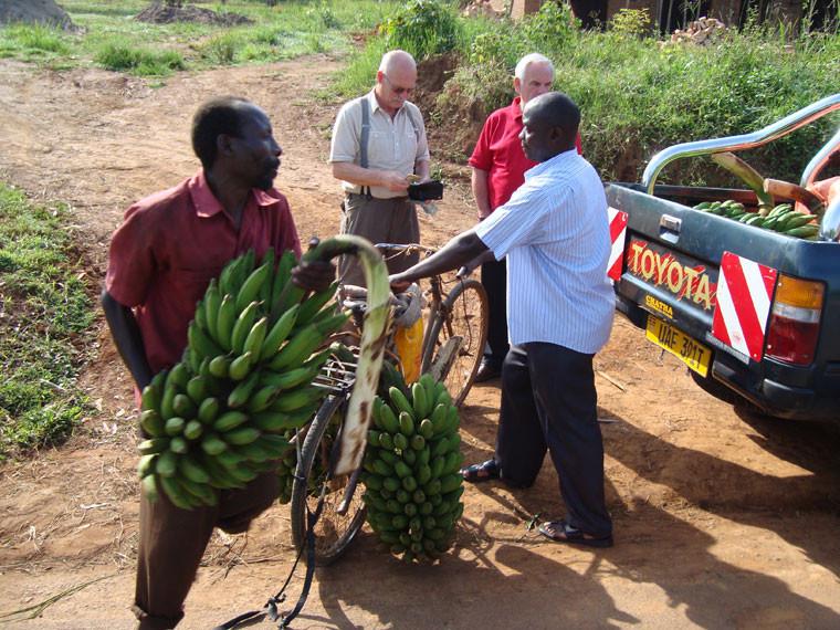 Mit Matoke-Bananen verschönerte Afrikaprojekt-Gründer Gerhard Ehrenreich...