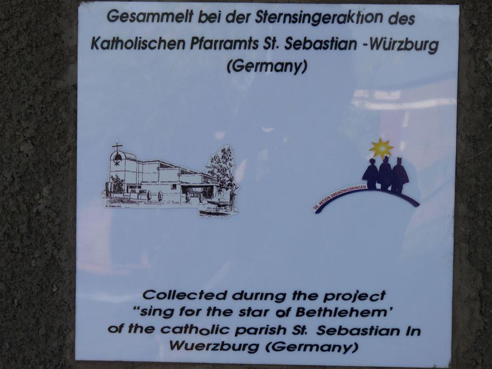 ...den Sternsingern des Kath. Pfarramt St. Sebastian - Würburg, tausend Dank!
