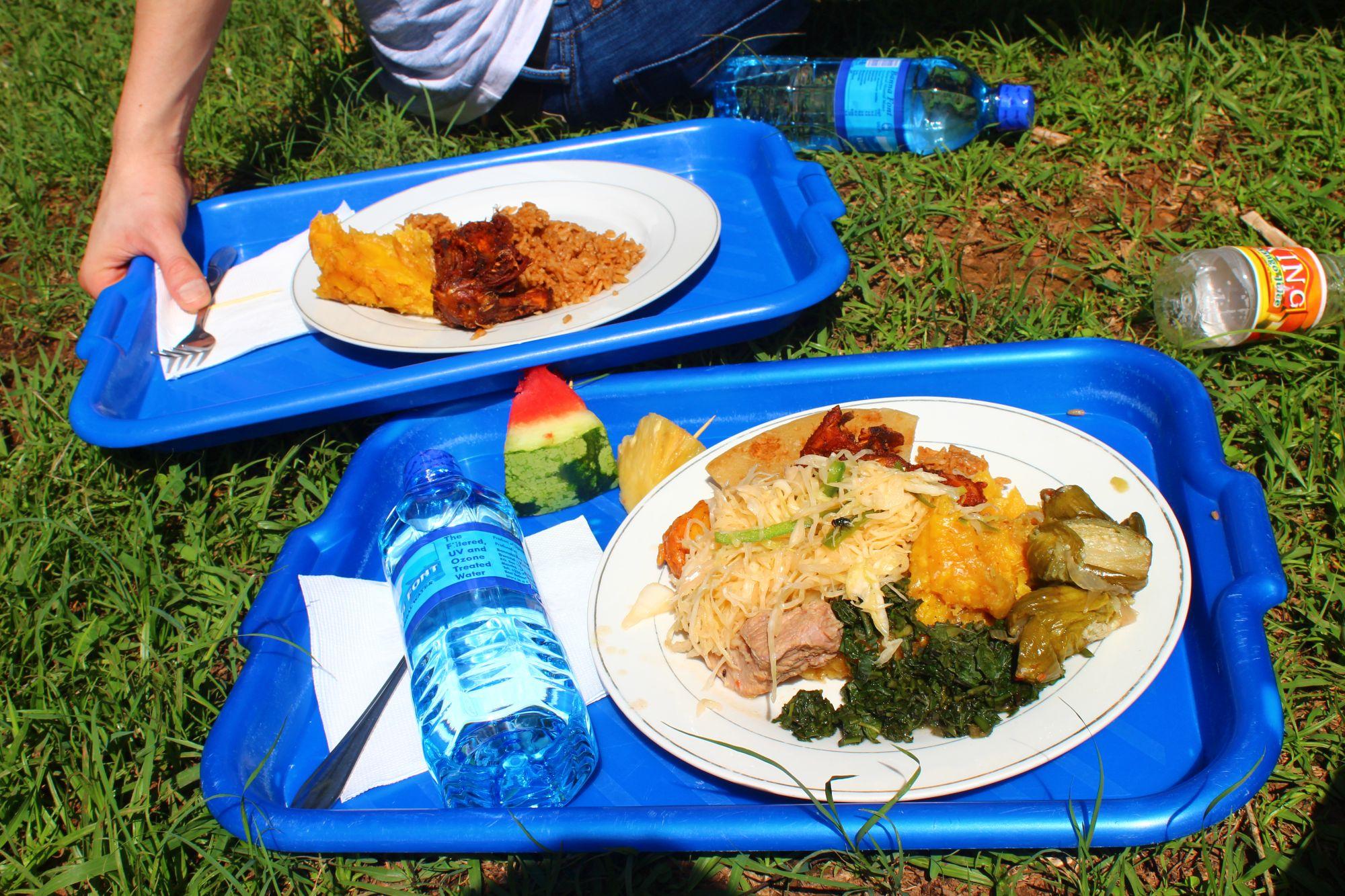Mittagsessen: Matooke, Reis, Maniok, Chapati, Hühnchen, Kohl, Auberginen, Greenies, Erdnusssoße und ein Stück Ananas und Wassermelone. Dazu gab es für die Kids eine Soda und für die Erwachsenen Wasser.