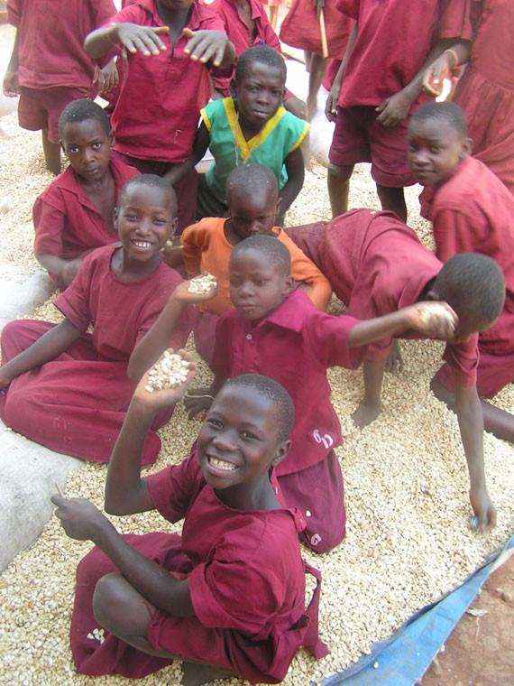 Stolz zeigen die Kinder ihre mühsam gewonnenen Maiskörner, ...