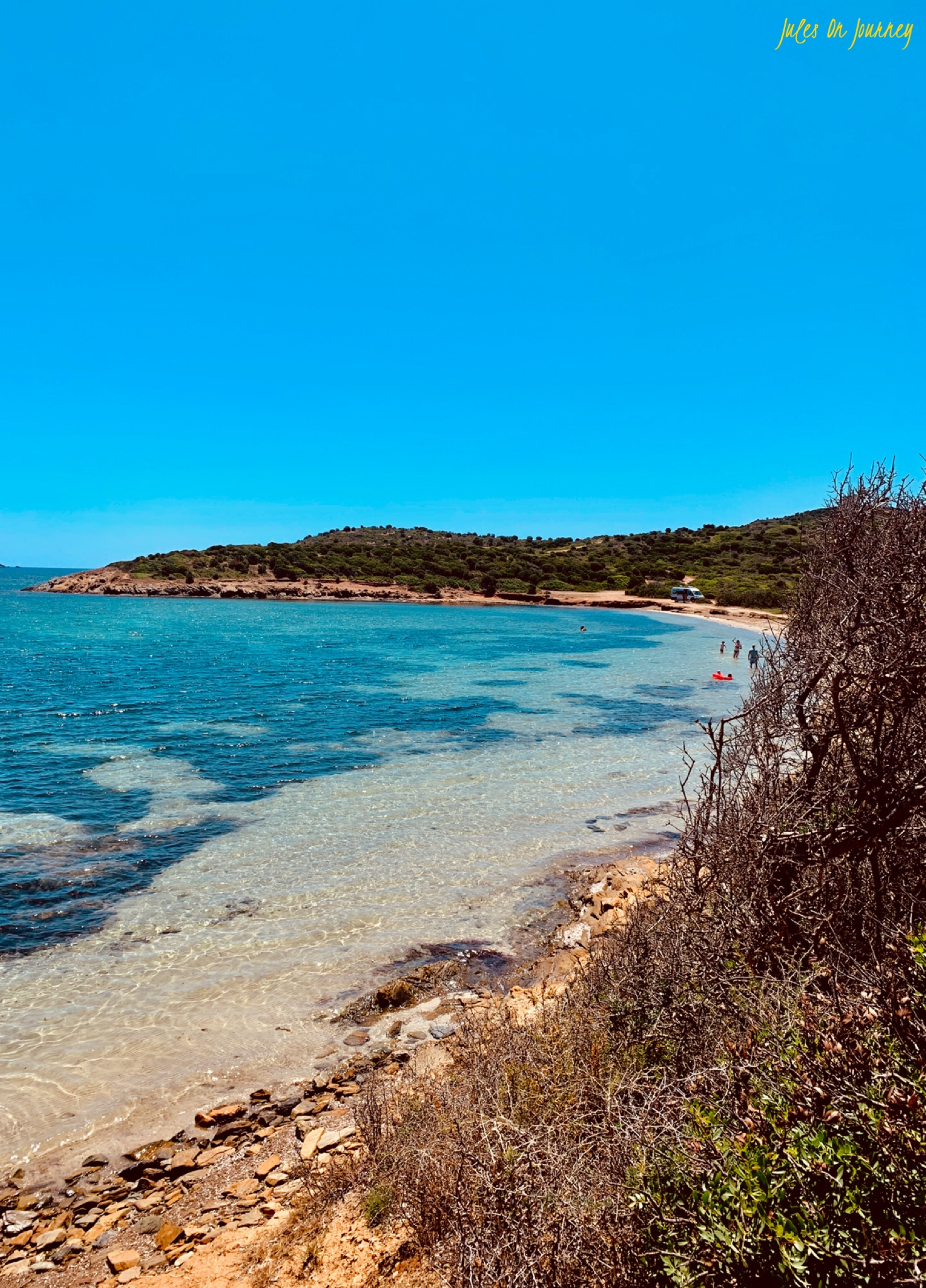 Blick auf den Strand von Malfatano.