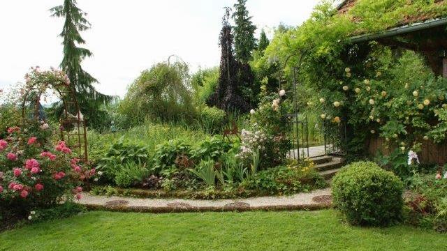 Blick auf den Rosenteich im Rosengarten Sinneszauber