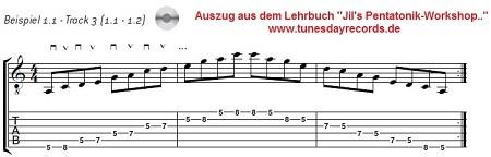 """Beispiel aus dem Lehrbuch """"Jil's Pentatonik-Workshop für E-Gitarre"""""""