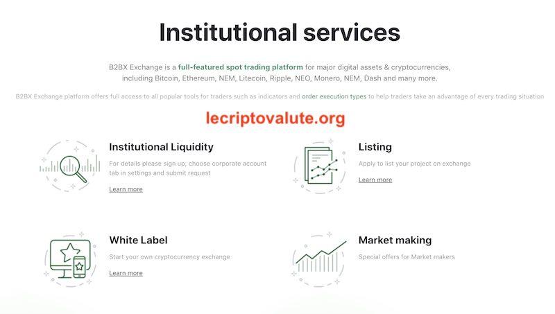 b2bx exchange servizi istituzionali