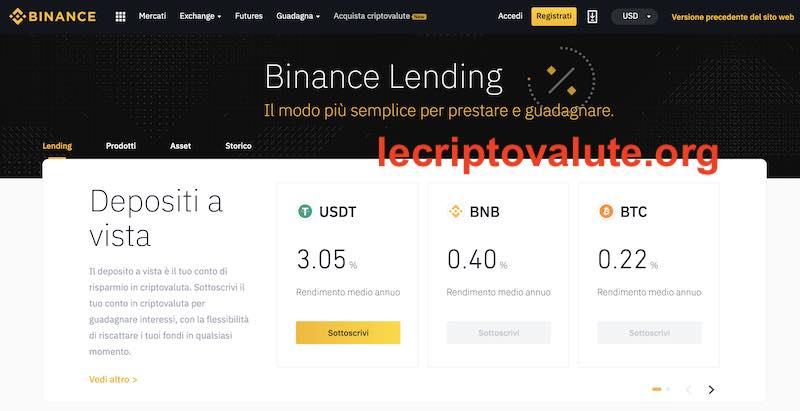 binance lending recensioni opinioni