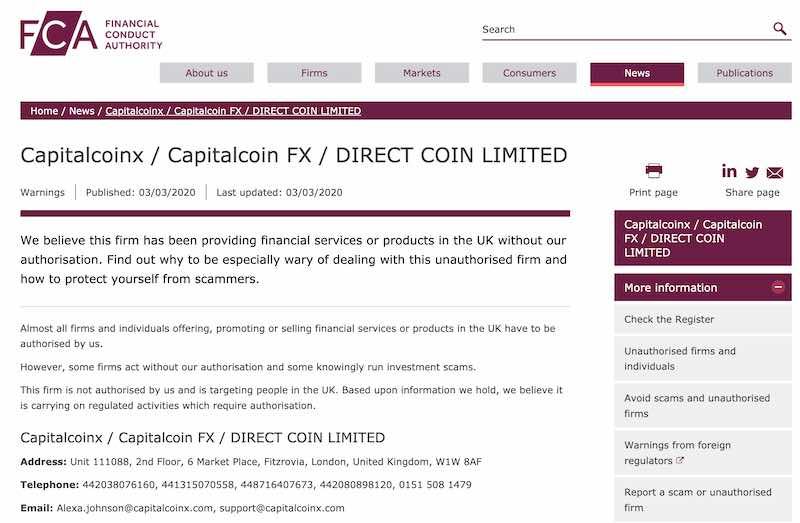 capitalcoinx diffida FCA inglese truffa