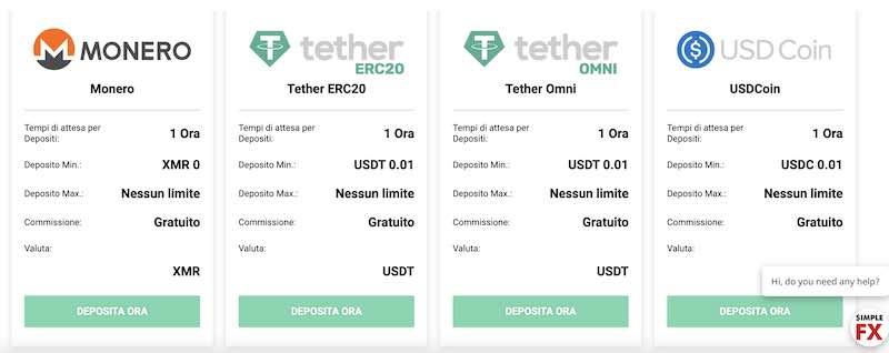 come depositare e prelevare con Monero - Tether - USD Coin in Simplefx