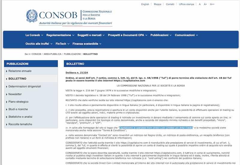 capitalcoinx consob diffida