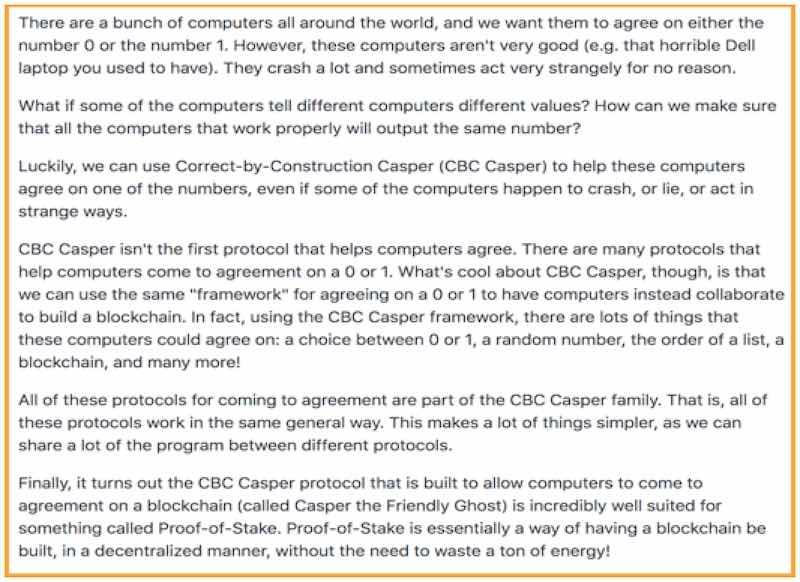 spiegazione di Vlad Zamfir per Casper CBC protocol