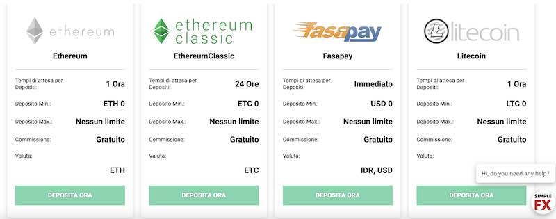 SimpleFX deposito e prelievo Ethereum - Ethereum Classic - FastPay - Litecoin