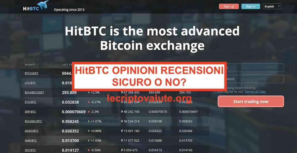 HitBTC opinioni e recensioni exchange criptovalute 2021: sicuro o no?