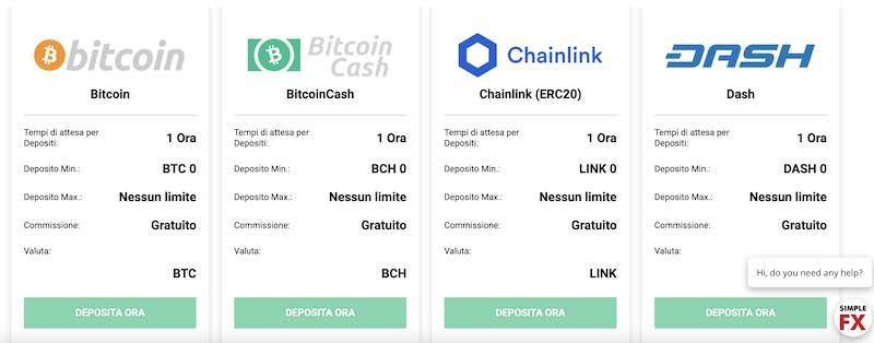 SimpleFX deposito Bitcoin - Bitcoin cash - Chainlink - Dash