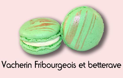Macaron vacherin fribourgeois et betterave rouge