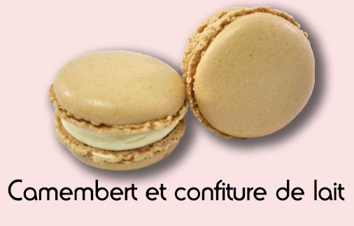 Macaron camembert et confiture de lait