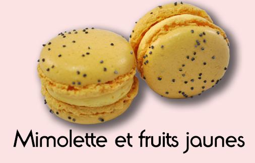 Macaron mimolette et fruits jaunes
