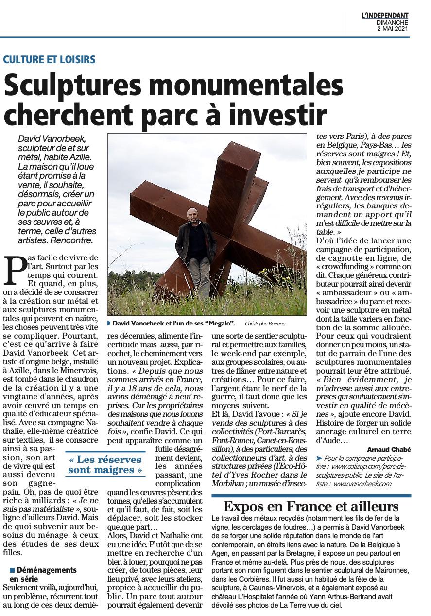 Article de Press création Parc de Sculptures Minervois Corbieres Vanorbeek avec financement participatif