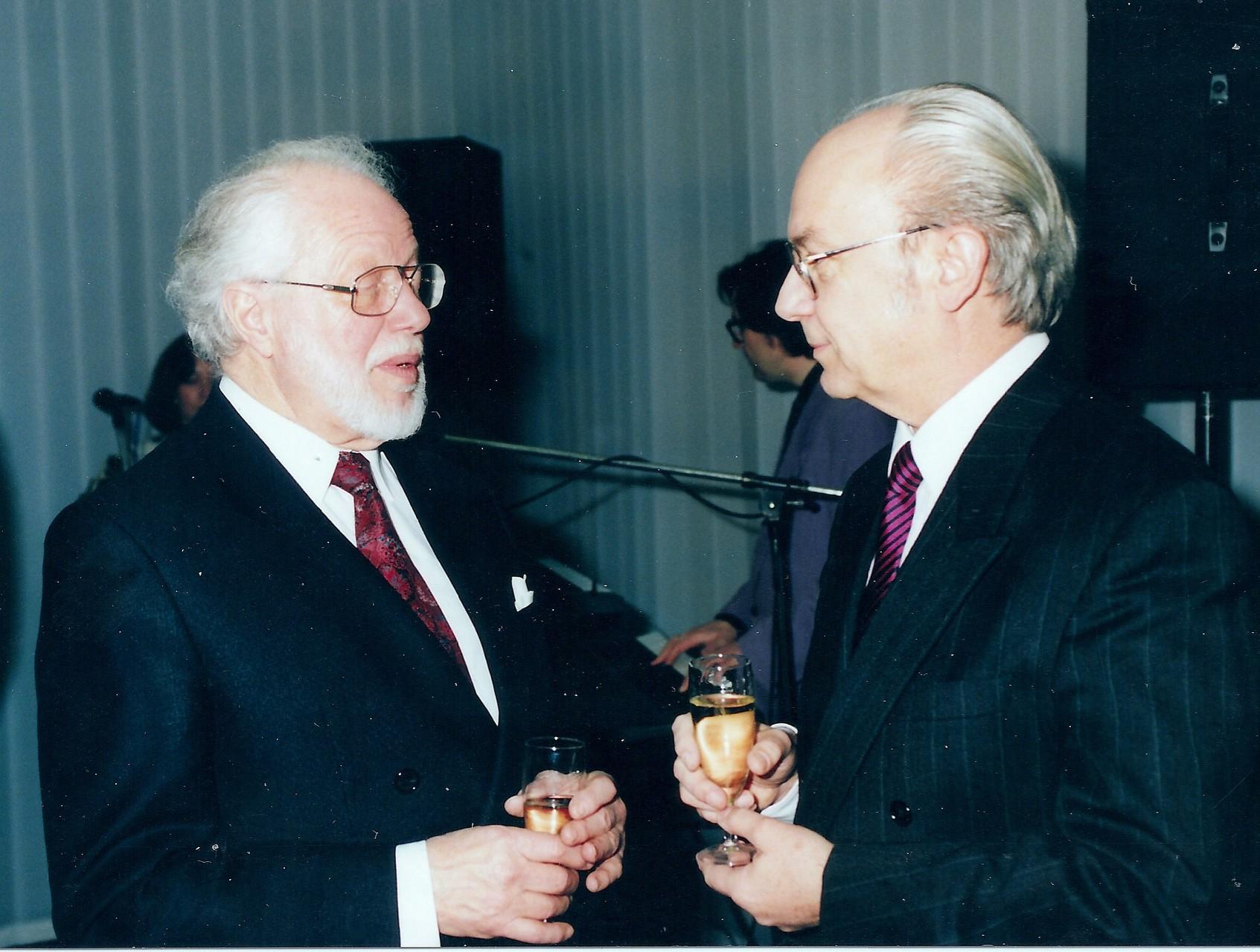 Mit Fritz Zapletal, langjähriger Vorsitzender des Fördervereins der SFOF Berlin, an seinem 70. Geburtstag - Berlin 1992