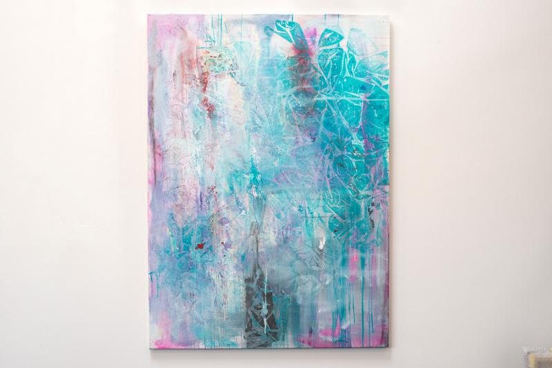 Liebe in Pastell, Künstlerin Uschi Heubeck, Exponat auf Foto 125x90 cm, mit Asche 750 € / ohne Asche 600 €