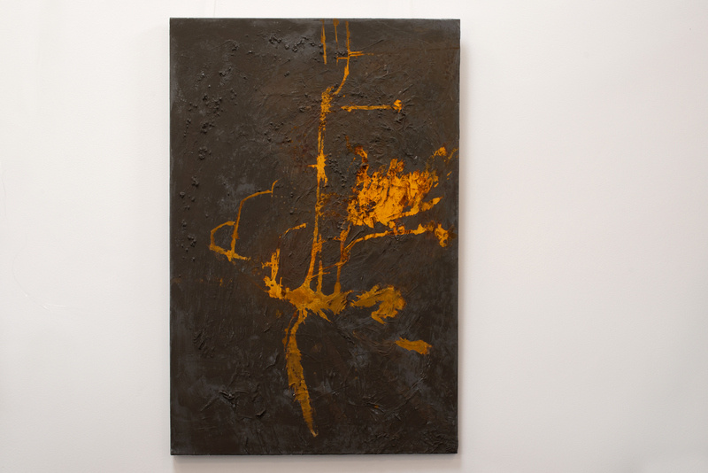 Rost IIII, Künstlerin Uschi Heubeck, Exponat auf Foto 120x80 cm, mit Asche 850 € / ohne Asche 700 €