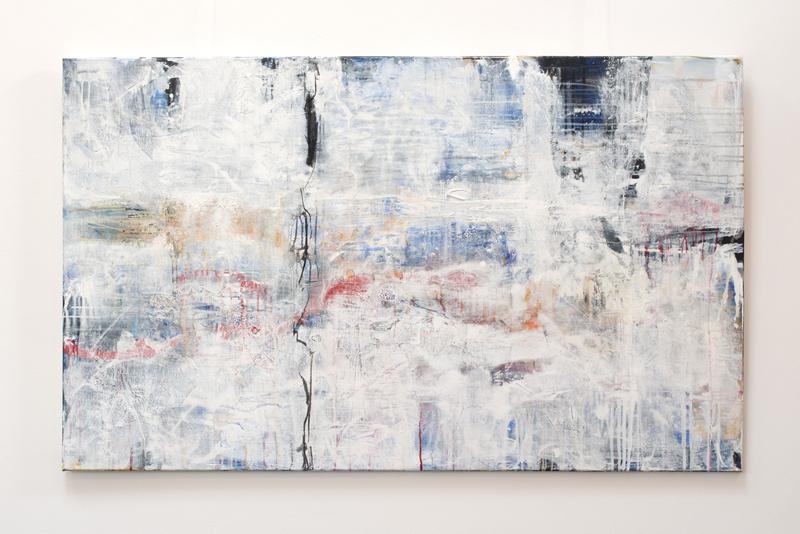 Schneegestöber,  Künstlerin Uschi Heubeck, Exponat auf Foto 90x150 cm, 980€