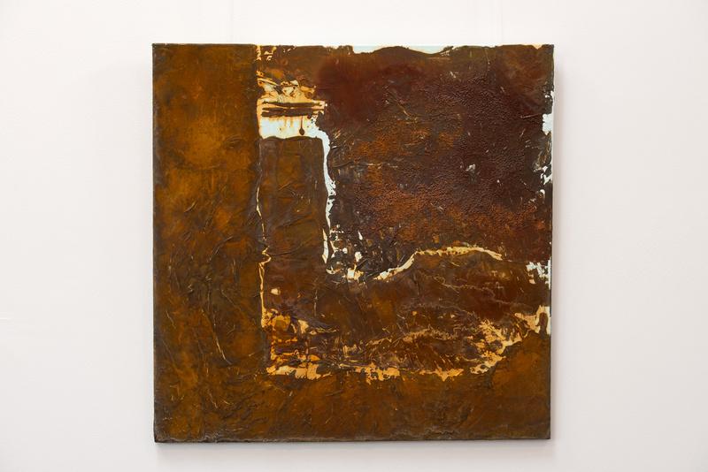 Rost III, Künstlerin Uschi Heubeck, Exponat auf Foto 80x80 cm, mit Asche 470 € / ohne Asche 320 €