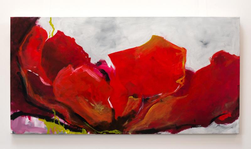 Strahlender Mohn, Künstlerin Uschi Heubeck, Exponat auf Foto 80x160 cm, mit Asche 1250 € / ohne Asche 1100€
