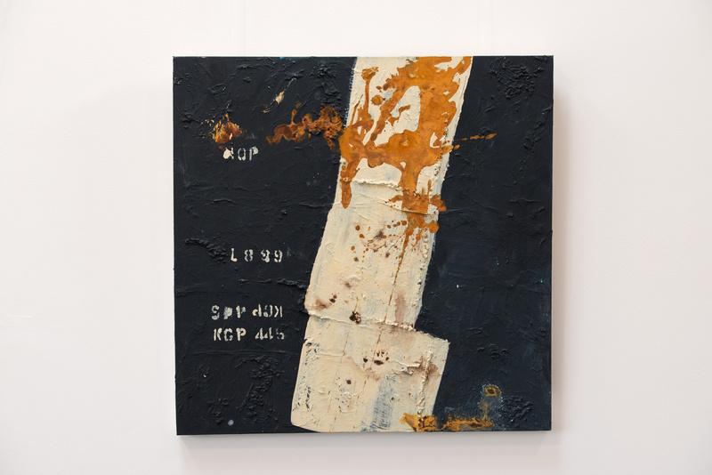 Rost I, Künstlerin Uschi Heubeck, Exponat auf Foto 80x80 cm, mit Asche 470 € / ohne Asche 320 €