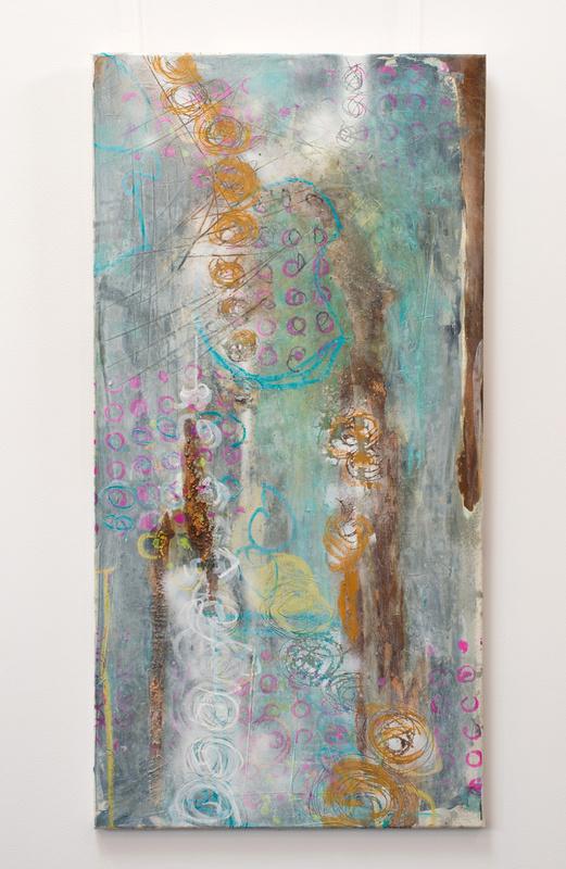 Facettenreich, Künstlerin Uschi Heubeck, Exponat auf Foto 130x65 cm, mit Asche 750 € / ohne Asche 600 €