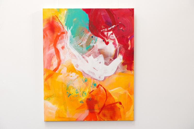So bunt wie das Leben,  Künstlerin Uschi Heubeck, Exponat auf Foto 100x80 cm, mit Asche 430 € / ohne Asche 280 €