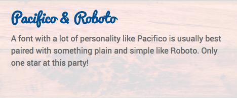Contraste : les polices Pacifico et Roboto