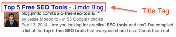Capture d'écran d'un titre et d'une description d'un article de blog Jimdo sur Google avec le titre encadré