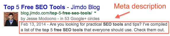 Capture d'écran d'un titre et d'une description d'un article de blog Jimdo sur Google avec la description encadrée