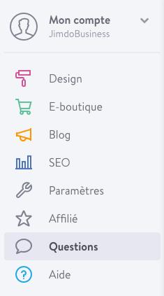 """Nouvelle rubrique """"Questions"""" dans le menu de votre site"""