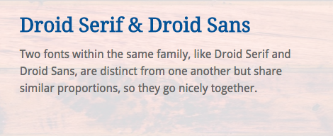 Harmonie : Droid Serif & Droid Sans