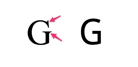 Police avec serif à gauche et sans serif à droite.