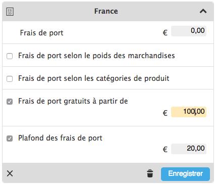 Ici vous pouvez paramétrer les frais de port gratuis et un plafond des frais de port.